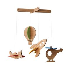petit collage transportation mobile air with wool felt and laser-cut bamboo