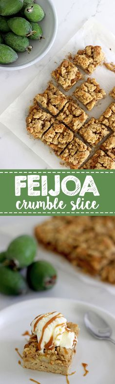 ThisFeijoa Crumble Slice is the perfect way to celebrate feijoa season! It's a quick easy slice with an oaty base, feijoa filling and a crumble topping that's perfect served as a warm dessert or as a lunchbox snack! | thekiwicountrygirl.com #feijoas #slice #baking #homebaking #easyrecipe #kiwirecipe