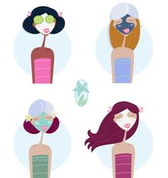 Southern Belle Simple : How to Throw a Slumber Party Korean Facial, Face Illustration, Facial Treatment, Slumber Parties, Facial Masks, Face Wash, Stylish Girl, Royalty Free Photos, How To Draw Hands
