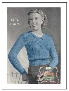 1940s Wartime Yoke Effect Sweater Vintage Knitting Pattern - PDF Instant…