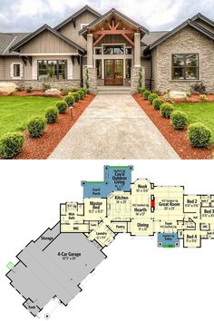 House Plans One Story, Family House Plans, Best House Plans, Dream House Plans, One Story Houses, One Floor House Plans, Beautiful House Plans, Dream Houses, Craftsman Ranch