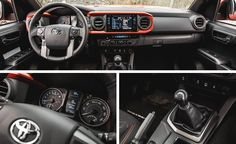 2016 Toyota Tacoma TRD OFFRD Black with Orange stitching fabric interior with the accented i ring in the dash.