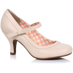 Nude Leatherette Bettie Retro Mary Jane Heels (€60) ❤ liked on Polyvore featuring shoes, pumps, nude, nude high heel shoes, nude high heel pumps, mary-jane shoes, high heel shoes and vintage pumps