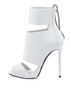 Giuseppe Zanotti High-Heel Banded Peep-Toe Cage Bootie, White from Bergdorf Goodman. Platform High Heels, High Heel Boots, Bootie Boots, Shoe Boots, Peep Toe Shoes, Stiletto Shoes, Shoes Heels, Zapatillas Peep Toe, Giuseppe Zanotti Heels