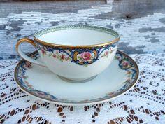 Theodore Haviland Limoges France Porcelain Cup/Saucer Teacup pink flowers gol | eBay