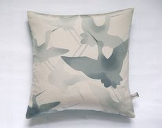Last one! Contemporary Style Vintage Japanese Kimono Pillow Cushion 'Seabirds' on Etsy, $44.00