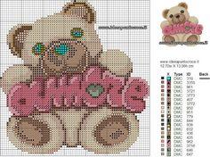 TEDDY THUN AMORE SCHEMA PUNTO CROCE Minnie Baby, Baby Disney, Cross Stitch Baby, Cross Stitch Embroidery, Cross Stitch Designs, Cross Stitch Patterns, Canvas Designs, Panda Bear, Needlework