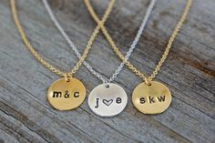 Personalized Gold Disc Necklace - Dainty 14K Gold Filled - Hand Stamped Couples Necklace - Sterling Silver Initial Jewelry - Bridesmaid Gift