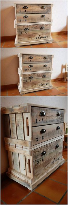 Ideal looking artwork of the chest of drawers favorable designing is all here where an interesting use of the wood pallet is all set out here for you. This chest of drawers structure is manufactured into the divisions of different drawers through the simplicity image being the part of it.