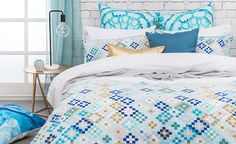 https://flic.kr/p/Q1gbv1 | Mosaic-Quilt-CoverMosaic Quilt Cover Set by Bambury-Set-Bambury | A chic design inspired by the intricate mosaics of Morocco in a soothing palette of azure blues and cool greys. The co-ordinating Euro pillowcases also feature a handpainted watercolour motif in beautiful aqua tones. www.beddingsquare.com.au/mosaic-quilt-cover-set-bambury-p...
