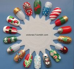 Various Christmas nail art check out www.MyNailPolishObsession.com for more nail art ideas.