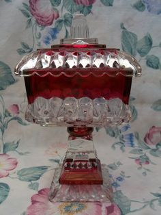 Vintage Indiana Glass Ruby Red Flash Covered Square Pedestal Compote Candy Dish Centerpiece