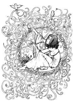 Galerie de coloriages gratuits coloriage-adulte-zen-anti-stress-a-imprimer-princesse-enfermee.