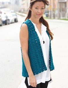 Yarnspirations.com - Caron Drapey Crochet Vest - Patterns    Yarnspirations