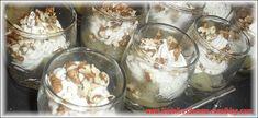 Verrines poires/chantilly de roquefort aux noix