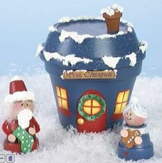 DIY Clay Pot Mr.& Mrs. Claus & house...fill with candies..cute neighbor/teacher gift!