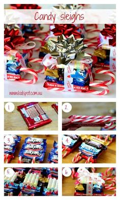 You can make these Candy sleighs as gifts for teachers, friends or even just for. You can make these Candy sleighs as gifts for teachers, friends or even just for yourself. They are a fun gift to make w. Christmas Candy Crafts, Homemade Christmas Gifts, Christmas Gift Tags, Christmas Goodies, Christmas Treats, Homemade Gifts, Holiday Crafts, Christmas Sleighs, Handmade Christmas
