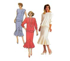 80s Drop Waist Two Piece Dress Sewing Pattern by HoneymoonBus, $8.99