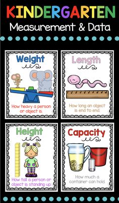 xMEASUREMENT and DATA - Kindergarten Math Unit - easy free math center - adorable posters for length width height capacity and more #kindergarten #kindergartenmath #kindergartenmathcenter