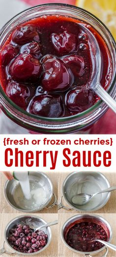This homemade Cherry Sauce is loaded with sweet juicy cherries. Quick and easy to make we love serving this cherry topping on Cheesecake pancakes waffles vanilla ice cream and pound cake. Cherry Sauce tastes like the filling for Cherry Pie. Cherry Topping For Cheesecake, Cheesecake Toppings, Cheesecake Pancakes, Cheesecake Recipes, Delicious Desserts, Dessert Recipes, Yummy Food, Dessert Dips, Fun Food
