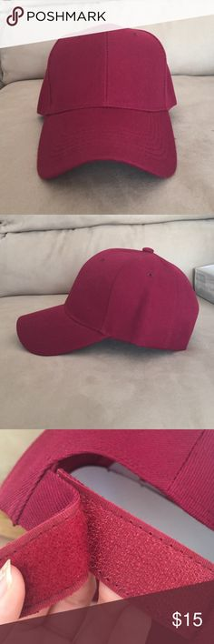 Burgundy baseball hat Cute and simple. Has a Velcro strap. NOT Brandy melville. Brandy Melville Accessories Hats