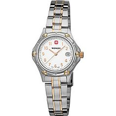 @Overstock - This chic Wenger Swiss Army watch is a fashion essential. Made from strong stainless steel, this piece will resist scratches, and the rich gold highlights add a subtle, but regal touch to this classic timepiece.   http://www.overstock.com/Jewelry-Watches/Wenger-Standard-Issue-Womens-Swiss-Military-Watch/860549/product.html?CID=214117 $165.96