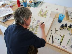 Angie Lewin working as artist in residence at Cortijada Los Gasquez in Andalucia Botanical Art, Botanical Illustration, Illustration Art, Angie Lewin, Textile Artists, Illustrations, Make Art, Art Studios, Artist At Work