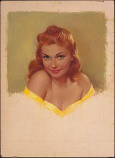 PEARL ALERYN FRUSH . Redhead Pin-Up in Yellow.