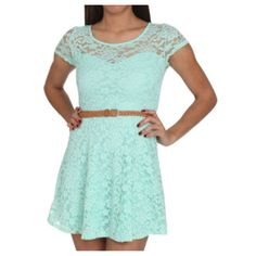 Blue lace with brown braded belt