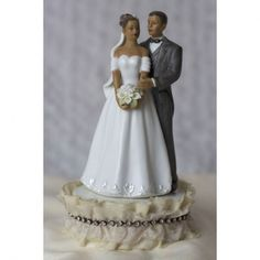 African American Cake Toppers Antique Silk and Rhinestones