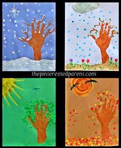 Kid's Hand Print Seasons - hand & finger print arts & crafts project with winter, spring, summer & fall autumn trees. Seasons Activities, Preschool Activities, Kindergarten Art, Preschool Crafts, Four Seasons Art, Halloween Bebes, Art For Kids, Crafts For Kids, Manualidades Halloween