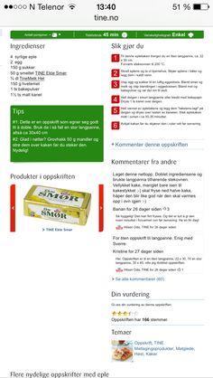 Eplekake, tine.no (nb-kanel & brunt sukker på eplebåtene, litt sitron & 1/4 ts salt, strø hakkede pistasjenøtter/mandler på toppen)