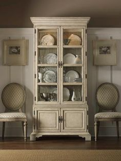 Lexington Twilight Bay Pierpoint Display Cabinet In Distressed Textured  Soft Taupe Gray