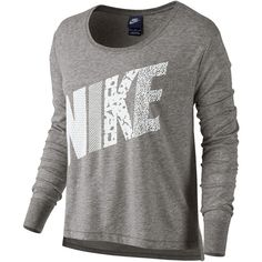Nike Long-Sleeve Prep T-Shirt ($26) ❤ liked on Polyvore featuring tops, t-shirts, shirts, long sleeves, sweatshirt, long sleeve shirts, nike shirts, loose t shirt, loose long sleeve shirt and scoop neck t shirt