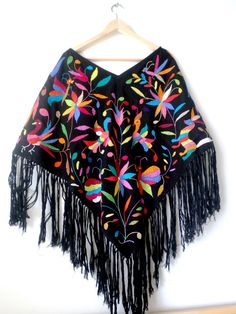 Hand embroidered Poncho Huipil Black and multicolor by ArteOtomi, $186.00