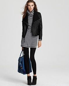 leggings with knee length or shorter layered with short fitted or shaped jacket