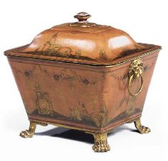 Regency Gilt-Japanned Tole Coal   Scuttle