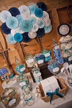 A Blue Country Chic Wedding candy bar! Rustic Wedding Flowers, Chic Wedding, Wedding Country, Wedding Ideas, Bar A Bonbon, Candy Bar Wedding, Blue Birthday, 40th Birthday, Church Wedding Decorations