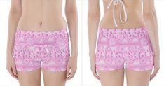 Amoebaflowerspink Boyleg Bikini Wrap Bottoms