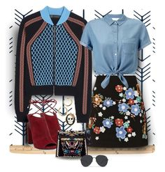 """""""Black and Blue"""" by fernshadowstudio-com ❤ liked on Polyvore featuring Topshop, Versace, Miss Selfridge, Kenneth Cole and Betsey Johnson"""