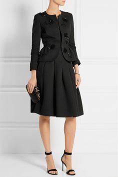 Oscar de la Renta Sequin-embellished jacquard peplum jacket black