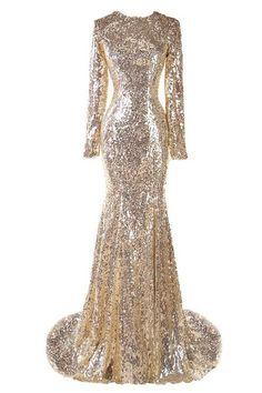 513449f4 Ellames Sequins Long Sleeves Mermaid Bridesmaid Evening Dresses Champagne  US 4 Gold Long Sleeve Dress,