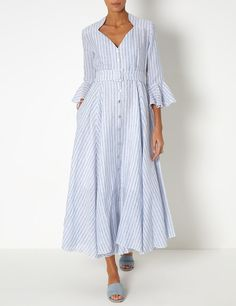 Light Blue Linen Rita Dress | Gul Hurgel | Avenue32