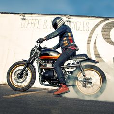 Thor Drake wanted an aesthetically pleasing bike: one that could perform well on the track and in the woods around his home, but still feel good on the streets. He chose the Triumph Scrambler, and with a few well-selected mods, created 'Teeth Gnasher.'