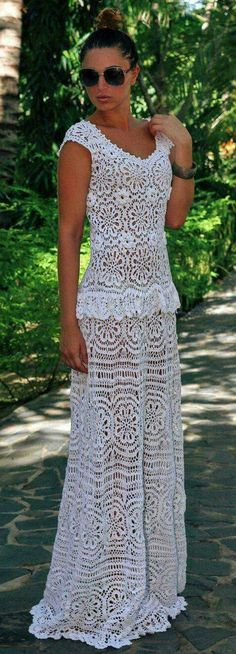 Crochet dress Emma. Ivory cott |