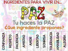 Dia de Paz 2017 Cartel editable Ingredientes por la Paz tutorías decora el colegio -Orientacion Andujar Class Dojo, Bible Crafts, Spanish Class, School Counseling, School Projects, Classroom Management, Teacher, Education, Learning