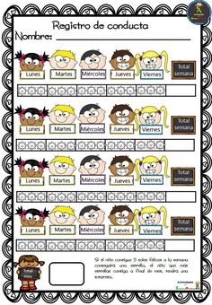 Fichas para el registro de conducta Kids Education, Special Education, Kindergarten Schedule, Teacher Tools, Spanish Lessons, School Organization, Mom Quotes, School Counseling, First Day Of School