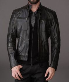 Men's Black Leather Biker Jacket. Throw yours on over your favourite shirt or t-shirt. This Biker Jacket is undeniably cool and will update your wardrobe in an instant. Every man needs a Biker Jacket.