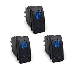 XT AUTO 3 Pack 20 Amp Blue LED Jeep Toggle Switch