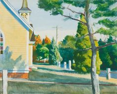 """Church in Eastham"" Peinture de l'artiste Edward Hopper Manet, Edouard Vuillard, Edouard Hopper, Edward Hopper Paintings, Toulouse, Famous Artists, American Artists, Les Oeuvres, Impressionism"